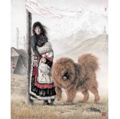 传统字画国画藏獒工笔画写实家居装饰画宣纸印刷品 唐坚-雪域岁月