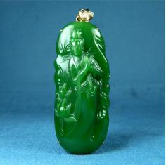 和田玉七号坑碧玉菠菜绿细料冰 18K金 观音菩萨挂件吊坠送礼收藏