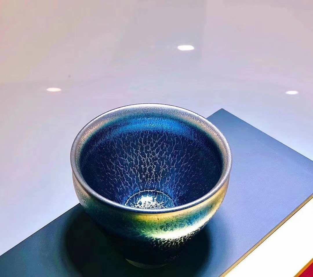 翁书杰建盏名家作品:蓝麒麟 主人杯 自留送礼都非常好