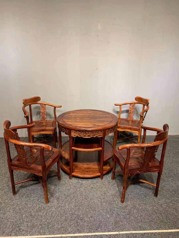 精品黄花梨休闲桌五件套!款式讲究,做工精细,纹理非常漂亮!